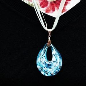Jewelry - Blue Ribbon Necklace